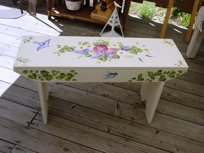 DIY Birds and bugs hand painted garden bench, FlowerPatchFarmhouse.com