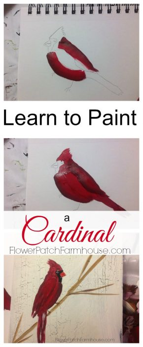 How to Paint a Cardinal tutorial. Easy enough for beginner, video included. FlowerPatchFarmhouse.com FlowerPatchFarmhouse.com