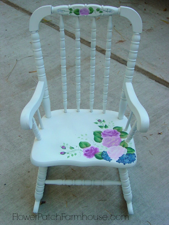 childs rocker hand painted with roses, FlowerPatchFarmhouse.come