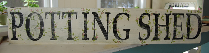 Potting Shed sign with rosebuds, FlowerPatchFarmhouse.com