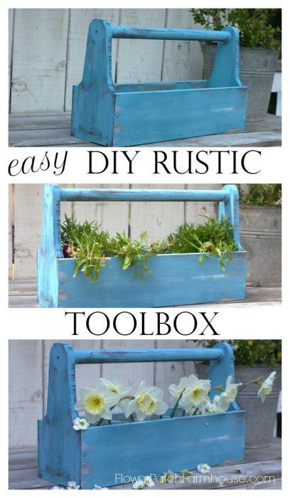 DIY Rustic Toolbox tutorial, FlowerPatchFarmhouse.com