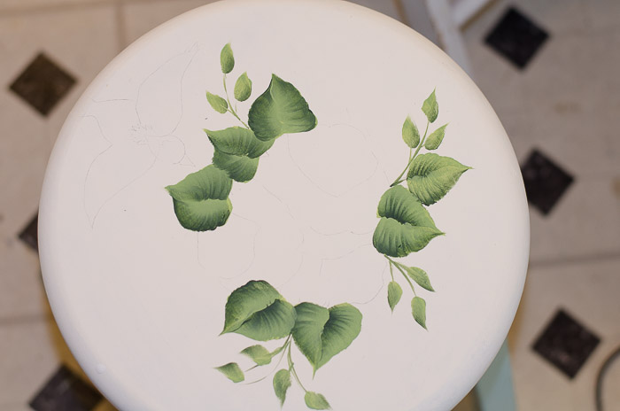 Little green stool  makeover, FlowerPatchFarmhouse.com