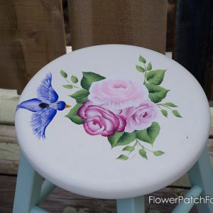 Shabby little stool make over, FlowerPatchFarmhouse.com
