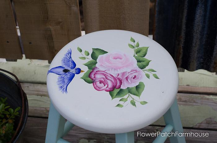 Shabby little stool make over, FlowerPatchFarmhouse.com