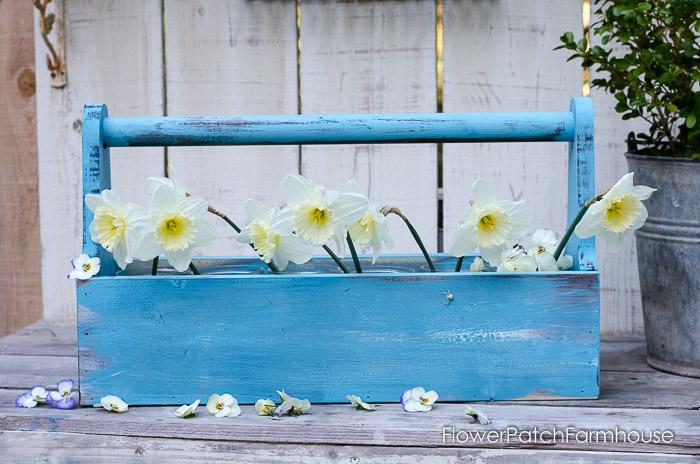 DIY Rustic Blue Toolbox, FlowerPatchFarmhouse.com