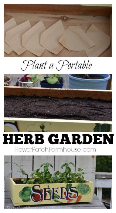 Plant a Portable Herb Garden, great by the kitchen door for fresh clipped herbs for your favorite recipes. FlowerPatchFarmhouse.com