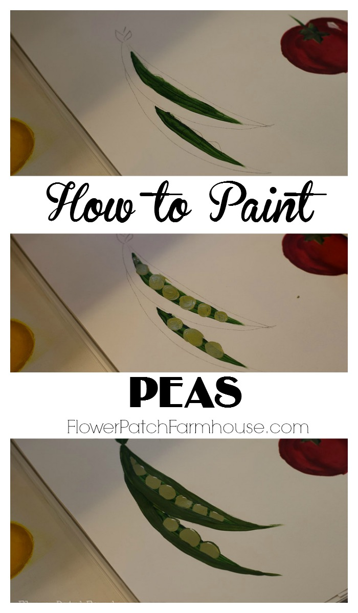 Learn How to Paint Peas in a Pod, great for garden signs, planting boxes or any other garden craft you can think of. Pair them up with my other veggies painting tutorials and paint a garden! FlowerPatchFarmhouse.com