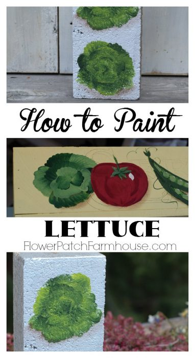 Learn How to Paint Lettuce. Great for garden signs, projects and decor! FlowerPatchFarmhouse.com