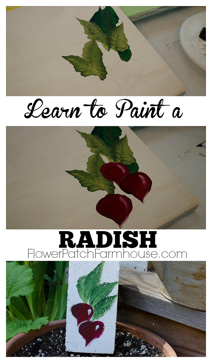 Learn how to Paint a Radish, one stroke at a time,  FlowerPatchFarmhouse.com