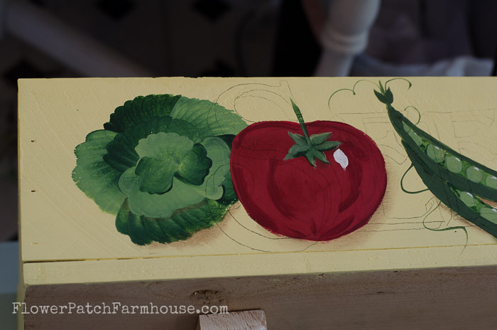 Veggie paintings on DIY herb planter, FlowerPatchFarmhouse.com