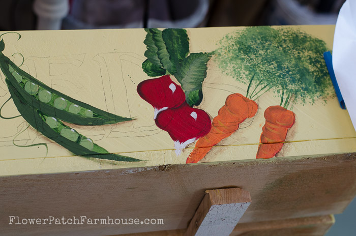 DIY herb planter box from cedar fence boards, hand painted with veggie motif, FlowerPatchFarmhouse.com