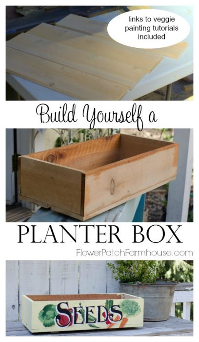 Vintage seed box planter or crate DIY, complete with links to decorative painting tutorials. Come build your own kitchen herb garden planter! FlowerPatchFarmhouse.com