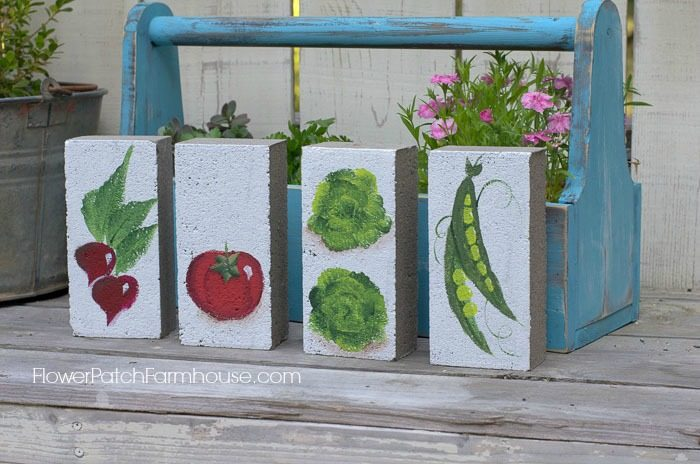 Hand painted garden markers on bricks, FlowerPatchFarmhouse.com