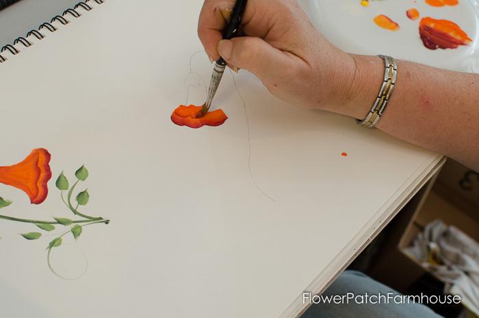 Learn how to paint Trumpet Vine, FlowerPatchFarmhouse.com (4 of 20)
