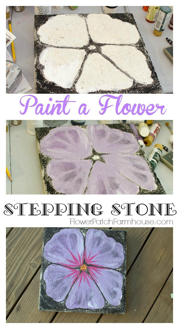 Turn a plain concrete paver into a gorgeous piece of garden art.  Paint a flower stepping stone. Switch up colors or shapes of flowers for an entire flower strewn pathway!