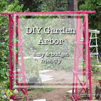 DIY garden arbor with text overlay