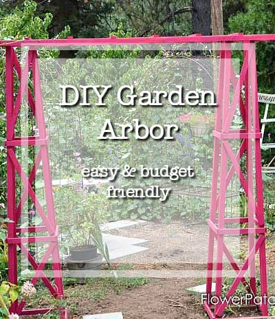 DIY garden arbor with text overlay