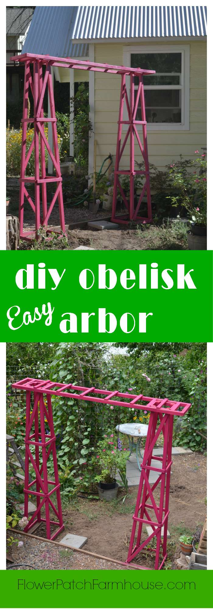 DIY Arbor created from our DIY obelisks!  This is so easy and fun.  What makes it even better is it is portable, no need to sink it into the ground.  (in windy locales you would wish to secure it)