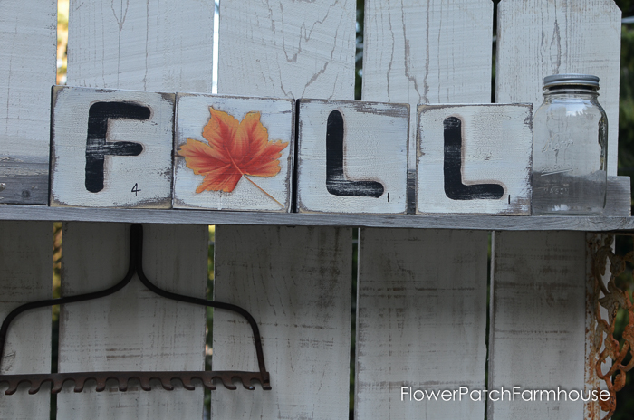 Fall Scrabble Tiles for fun Autumn decor, the leaf has a pumpkin on the other side. FlowerPatchFarmhouse.com