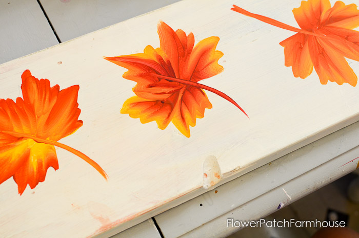 Painting Fall Leaves, FlowerPatchFarmhouse.com, great painting projects for Autumn