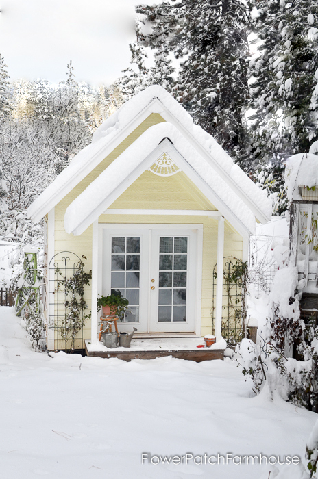 She Shed cottage in snow