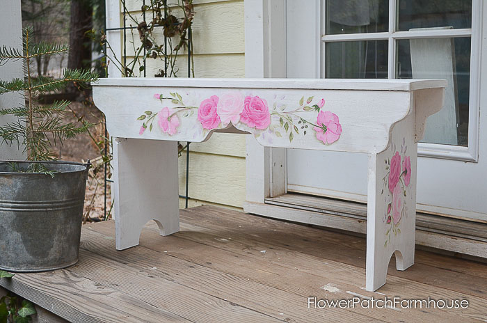 DIY farmhouse bench with roses painted on it, How to Build a Sweetheart Bench