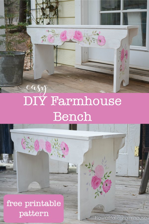rose painted bench with wording, How to Build a Sweetheart bench