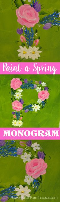 How to Paint an easy Floral Spring Monogram. Complete with video tutorial. Come Paint SPRING! FlowerPatchFarmhouse.com