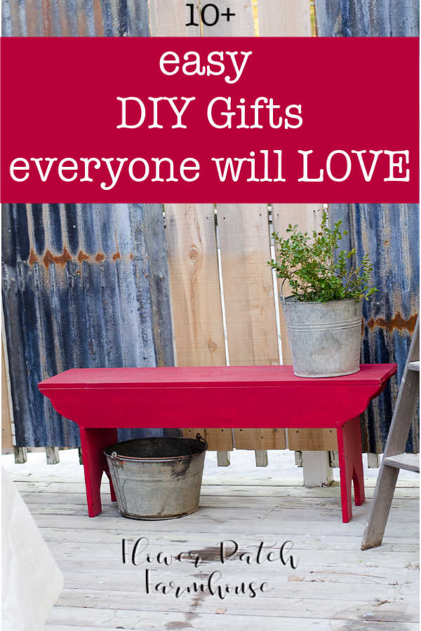 red bench with text overlay,