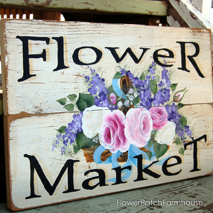 Flower Market Basket sign, FlowerPatchFarmhouse.com (1 of 1)
