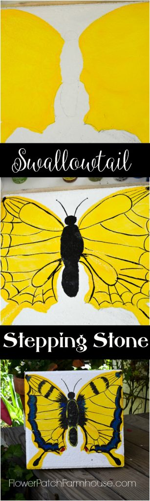 Turn a plain cement paver into Garden Art. How to Paint a Swallowtail Butterfly Stepping stone will show you how! Step by step.