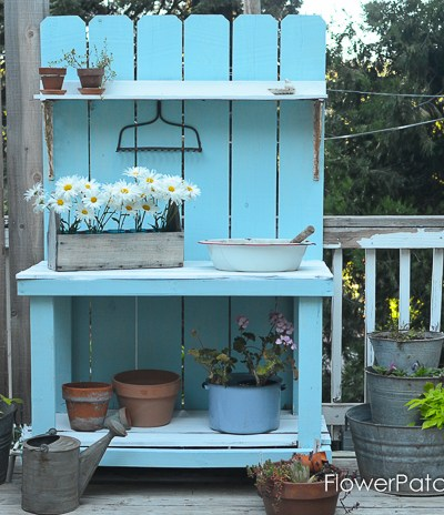 DIY Potting Bench Refresh for summer with chalk finish paint in Pool Blue