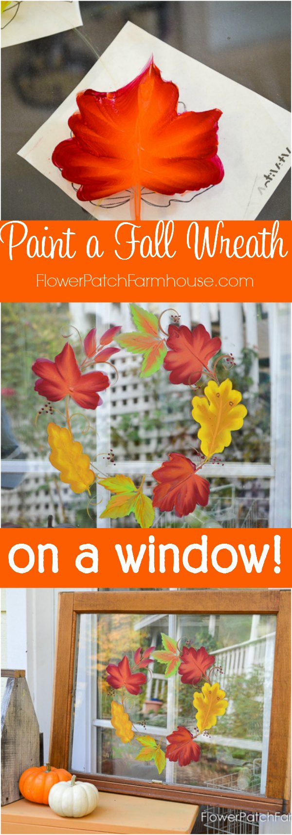 Paint Autumn Leaves on Glass. Gorgeous Fall colors arranged in a wreath in this painting tutorial. Step by step instructions and a free video. This is wonderful for Fall farmhouse or cottage DIY decor, a fun craft with kids or a seasonal change. Completely washable and ready for a new season.  #fallcrafts #diydecor #easypainting #beginnerpainting #farmhousestyle #diycottagedecor