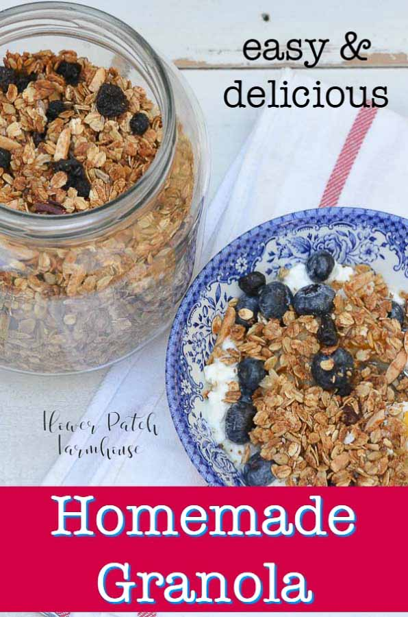 Home made granola with text overlay
