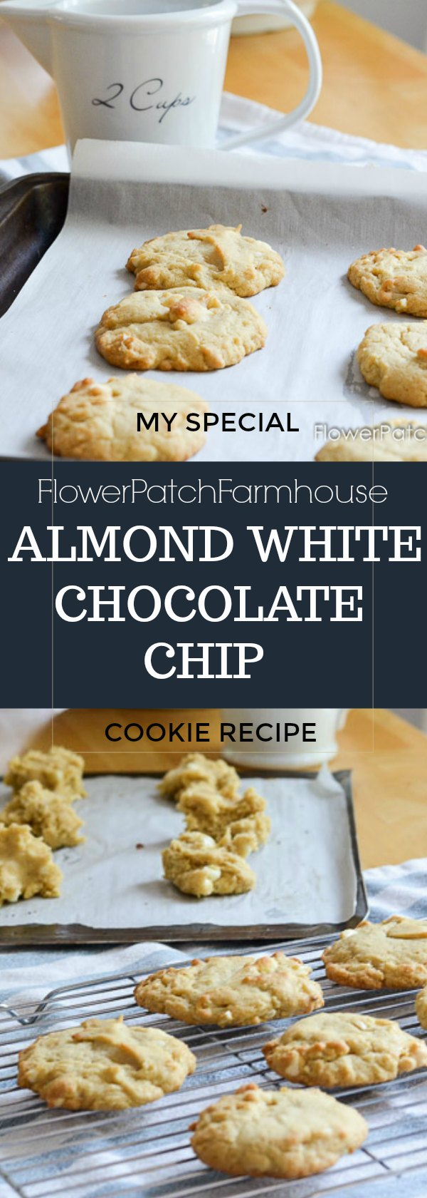 Almond White Chocolate chip cookies are delicious and easy to bake.  I add a special ingredient to enhance all the flavors and make them ultra delicious.
