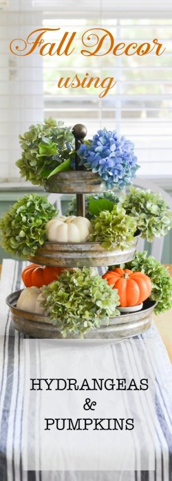 Hydrangeas and Pumpkins for Fall. Natural elements that are subtle yet so beautiful. Inexpensive way to bring Fall into your decor.