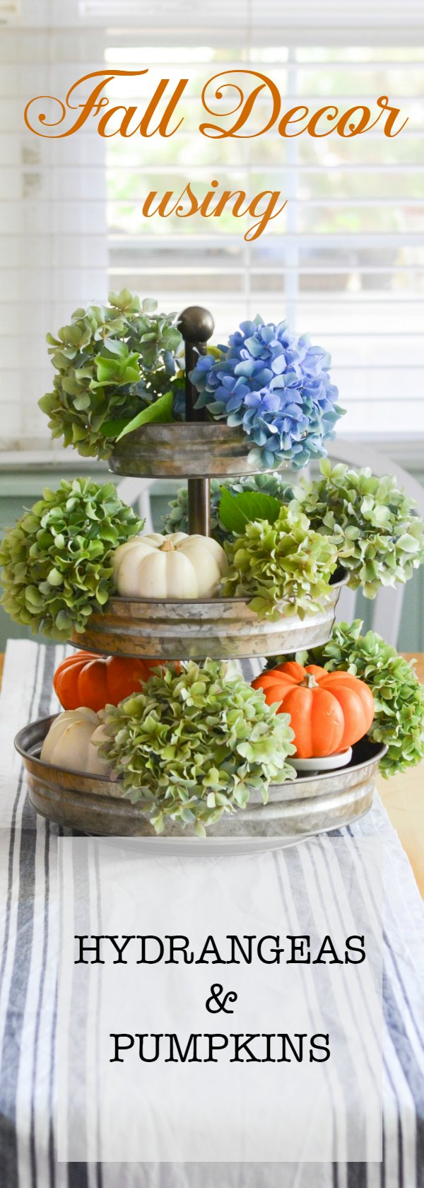 #Hydrangeas and Pumpkins for Fall. Natural elements that are subtle yet so beautiful. Inexpensive way to bring #Fall into your #decor.