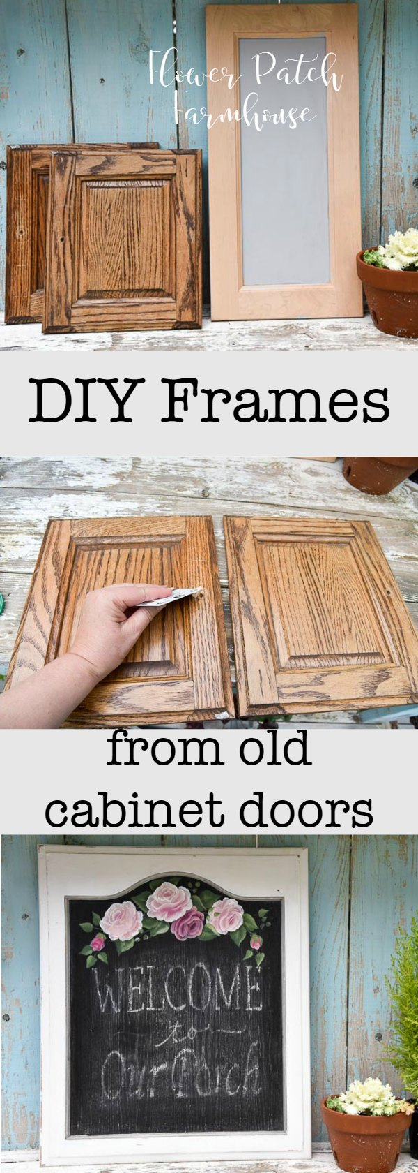 DIY frames from cabinet doors. Up-cycle used cabinet doors into fun frames for artwork, photos or chalkboards.  Fast and easy.