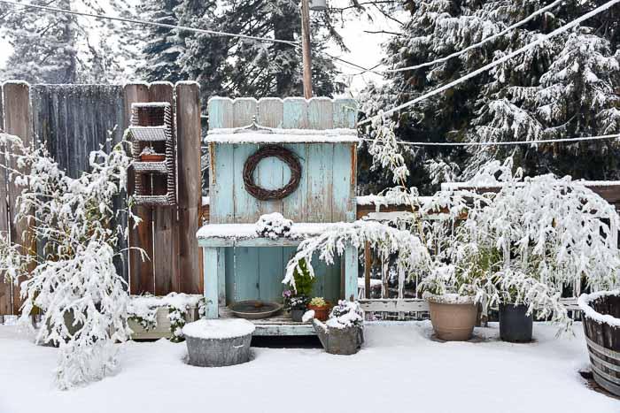 DIY Potting Bench in the snow
