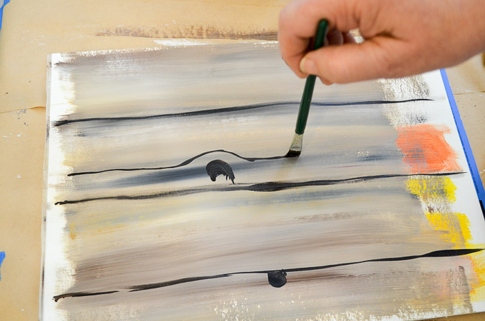 Adding knot holes and grain lines to faux wood grain painted in acrylics