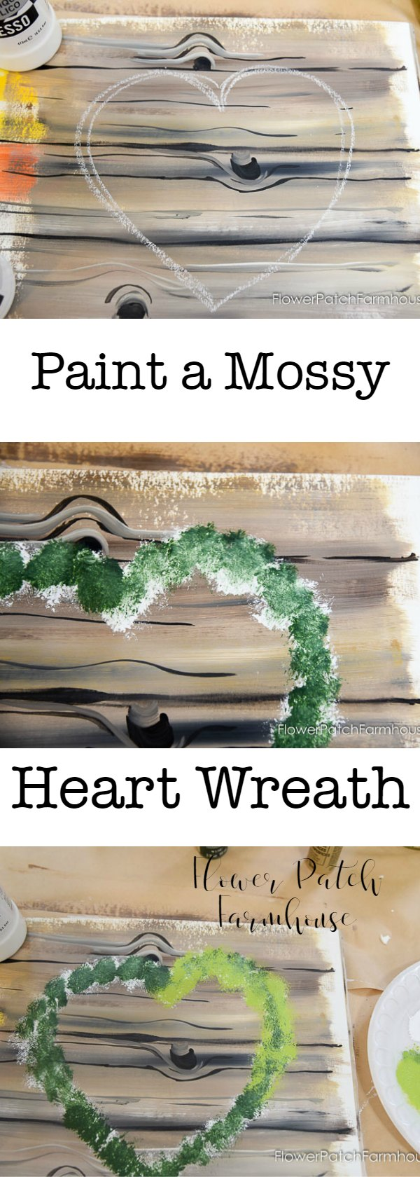 Learn how to paint a Mossy Heart Wreath in acrylics.  Step by step free tutorial with video.  Create this fun wreath then add flowers of your choice.  An easy beginner lesson.