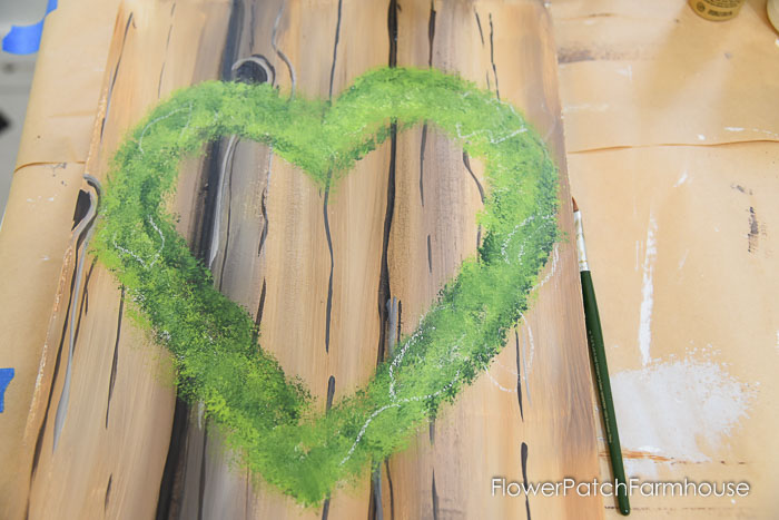Lighter green painted on heart wreath