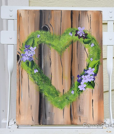Hand painted mossy heart shaped wreath with violets