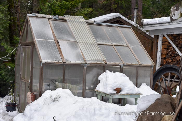 Greenhouse with snow, March 19 2018 Garden Journal