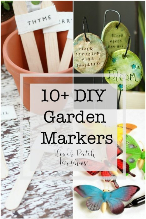 10+ DIY Garden Markers you can make at home.  Many are a great project to do with kids. Add them to a Garden Gift basket for that special gardener in your life.