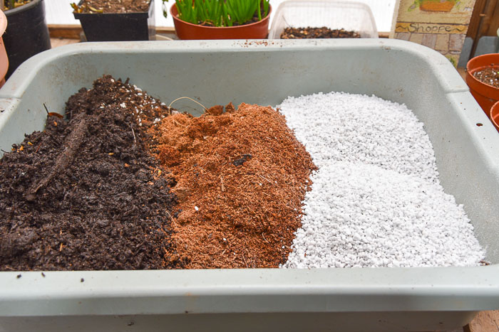Three different components to create DIY potting soil, Flower Patch Farmhouse