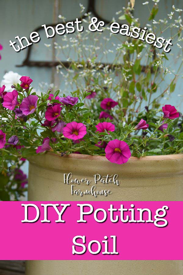 crock with pink calibrachoa with text overlay, easy DIY potting soil, Flower Patch Farmhouse