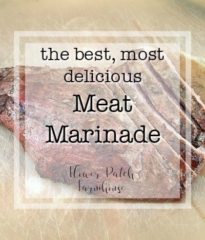 grilled tri tip roast on cutting mat, text overlay, the best, most delicious meat marinade, Flower Patch Farmhouse