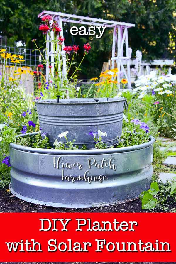 Galvanized fire ring and tub turned into a planter with solar fountain, text overlay, DIY planter with solar fountain, Flower Patch Farmhouse
