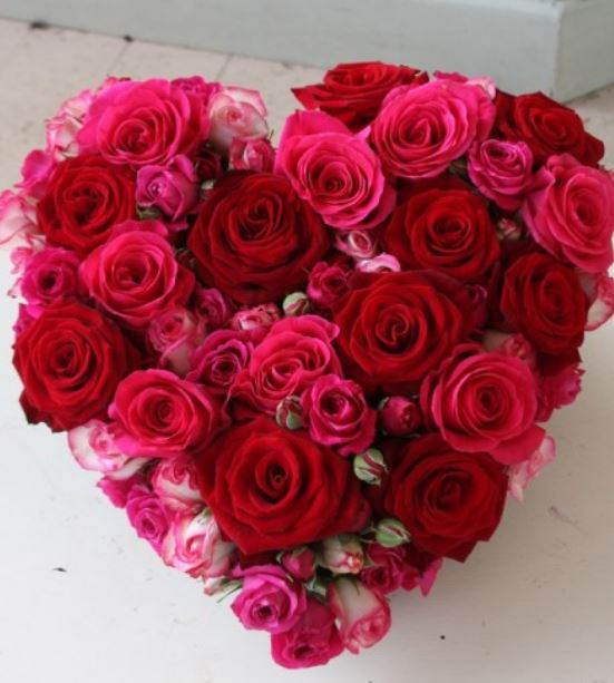Beautiful Valentines Day Gift With Heart Shaped Bouquet In